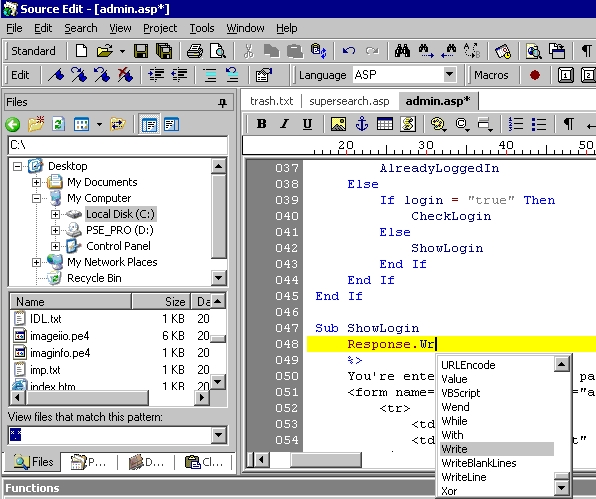 sourceedit How to edit .asp webpages